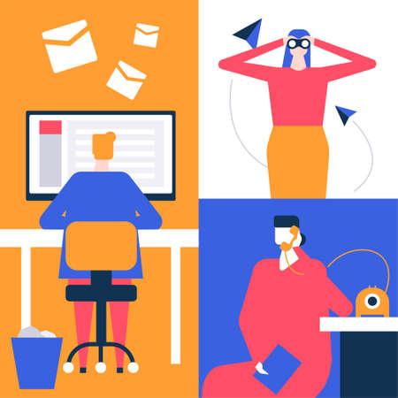 Recherche d'emploi - illustration colorée de style design plat. Composition de haute qualité avec un homme envoyant des e-mails, un curriculum vitae, une femme regardant à travers des jumelles, une candidate appelant au téléphone à l'entreprise