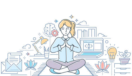 Mindfulness - modern line design style colorful illustration on white background with copy space for text. Composition with a woman meditating in lotus position in the office, trying to release stress 向量圖像