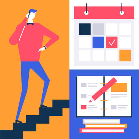 Due date - flat design style colorful illustration. High quality composition with businessman going up the stairs, images of calendar with picked days, notebook with pencil. Time management concept