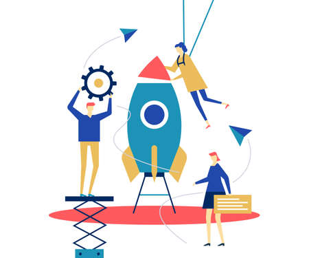 Startup - flat design style conceptual colorful illustration on white background. A composition with male, female colleagues, business team launching the project, images of gear, paper planes, comment
