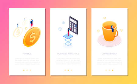 Office life - set of isometric vector vertical web banners with copy space for text. Images with businessman standing on a dollar coin, calculator, big cup. Finance, analytics, coffee break themes