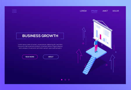 Business growth - modern isometric vector web banner on purple background with copy space for text. Website header with businessman standing on staircase, showing a presentation with diagrams, charts 스톡 콘텐츠 - 126702167
