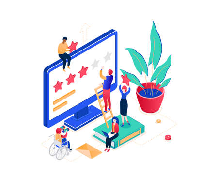 Company testimonials - modern colorful isometric vector illustration on white background. Male, female workers making star rating on computer screen, images of books, plant. Feedback concept