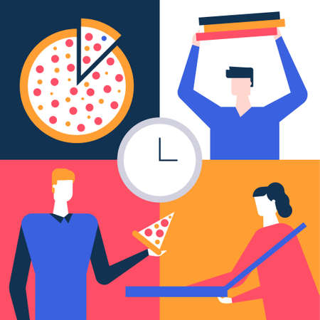 Lunch at work - flat design style colorful illustration. High quality unusual composition with male, female office workers, colleagues taking a coffee break, eating pizza together at work Illustration