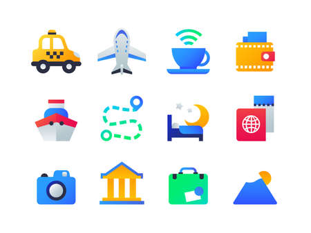Travel and holiday - set of flat design style icons on white background. High quality images of taxi, plane, internet cafe, wallet, ship, road route, bed in hotel, passport, camera, suitcase, mountain
