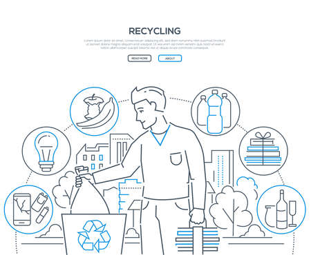 Recycling - modern line design style web banner on white background with copy space for text. A man throwing litter, sorting waste, icons of recyclable plastic, lightbulbs, organic, paper, glass