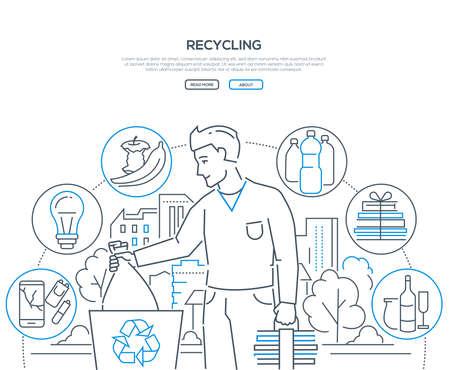 Recycling - Web-Banner im modernen Liniendesign auf weißem Hintergrund mit Kopienraum für Text. Ein Mann, der Müll wirft, Müll sortiert, Ikonen aus recycelbarem Kunststoff, Glühbirnen, Bio, Papier, Glas