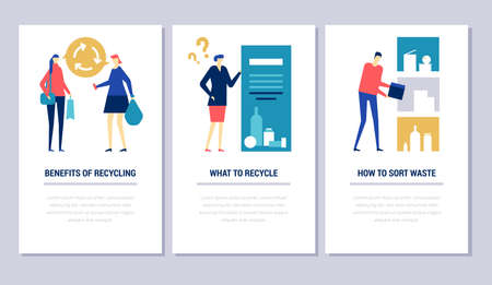 Recycling - flat design style conceptual web banners. High quality vertical images with copy space for text. Three situations with male, female characters sorting waste. Ecology, green city concept Stock Vector - 126675788