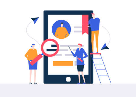 HR management - flat design style colorful illustration on white background. High quality composition with male, female managers choosing the best candidate, looking at CV, resume on smartphone screen Illustration