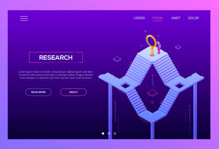 Business research - modern isometric vector website header on purple background with copy space for text. Landing page template with businessman standing on staircase, looking through magnifying glass Illustration