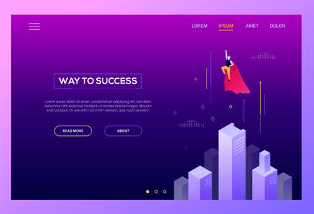 Way to success - modern isometric vector website header