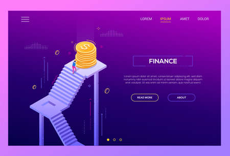 Finance - modern isometric vector landing page template on purple background with copy space for text. A website header with businessman, manager rolling coins up the staircase, reaching the top Ilustração