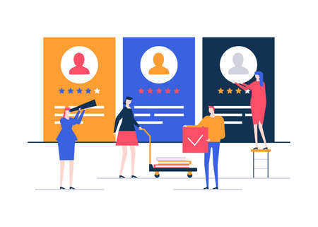HR management - flat design style colorful illustration on white background. High quality composition with male, female managers choosing best candidate, looking at CV, resumes, ratings of applicants