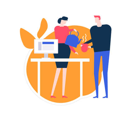 Taking a break - flat design style colorful illustration on white background. A composition with office workers, woman pouring out tea, helping her colleague. Workplace with a desk and computer