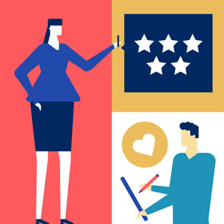 Company testimonials - flat design style colorful illustration on white background. High quality composition with man and woman writing comments, deciding the ratings, putting stars. Feedback concept Çizim