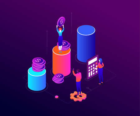 Financial growth - modern colorful isometric vector illustration on purple background. A composition with a businesswoman standing on diagram sector, holding a dollar coin, workers, calculator, gears