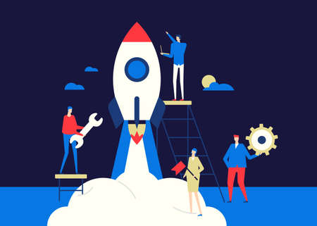 Startup - flat design style conceptual colorful illustration on dark blue background. A composition with male, female colleagues, business team launching the project, preparing rocket for a flight Ilustração