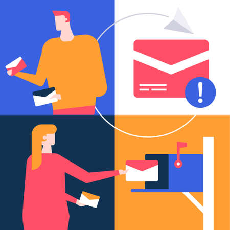 Email marketing - flat design style colorful illustration. High quality unusual composition with a man and woman, receiving and sending letters, mail box image, notification, paper plane signs