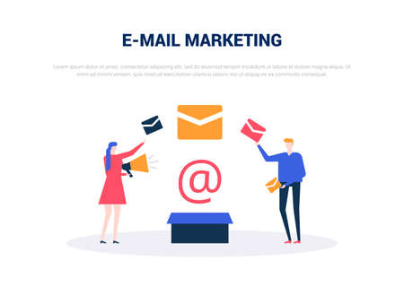 Email marketing - flat design style colorful web banner on white background with copy space for text. Composition with man and woman standing with megaphone, holding letters. SMM strategy concept