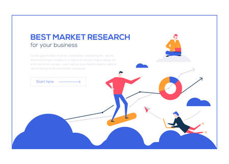 Best market research- flat design style colorful web banner on white background with copy space for text. Male, female colleagues working at laptops, analyzing diagrams. Business analytics concept Foto de archivo - 126660234