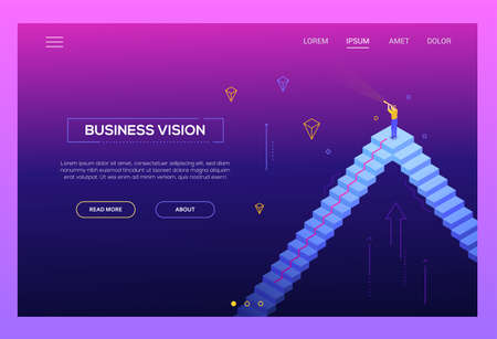 Business vision - modern isometric vector website header on purple background with copy space for your text. Landing page template with businessman standing on the staircase looking through telescope Ilustração