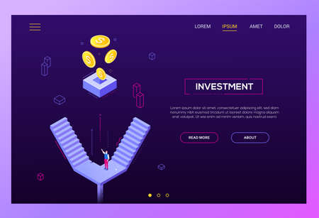 Investment concept - modern isometric vector website header on purple background with copy space for your text. High quality banner with businessman, manager standing on the staircase, images of coins