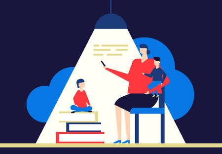 Family reading - flat design style conceptual colorful illustration on dark blue background. A composition with characters, mother sitting on chair and children, books, lamp. Education, hobby concept