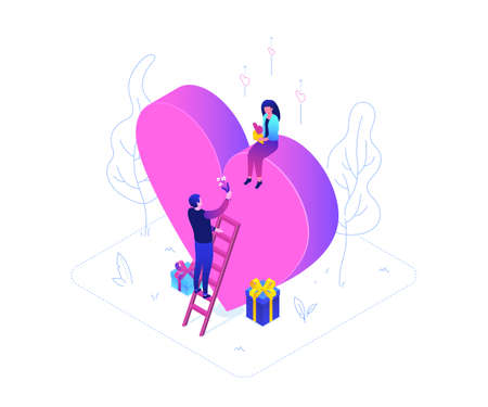 Be My Valentine - modern colorful isometric vector illustration on white background. A composition with a woman sitting on a big heart and a man on a ladder giving her flowers, images of presents