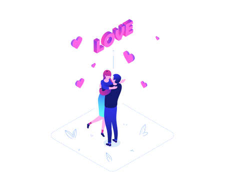 St Valentines day - modern colorful isometric vector illustration on white background. A composition with a woman and man on a date, hugging, congratulating each other, pink love sign and hearts