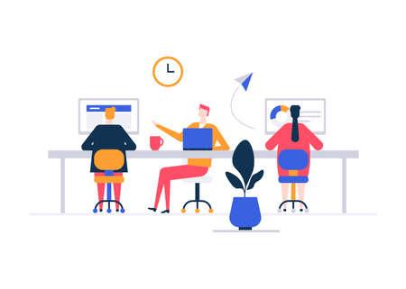 Espacio de coworking - ilustración colorida de estilo de diseño plano sobre fondo blanco. Composición de alta calidad con freelancers masculinos, femeninos, gente de negocios que trabaja con computadoras portátiles, computadoras en un lugar abierto Ilustración de vector