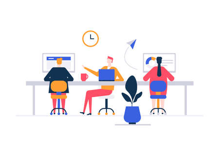 Coworking space - flat design style colorful illustration on white background. High quality composition with male, female freelancers, business people working with laptops, computers in one open place Illustration