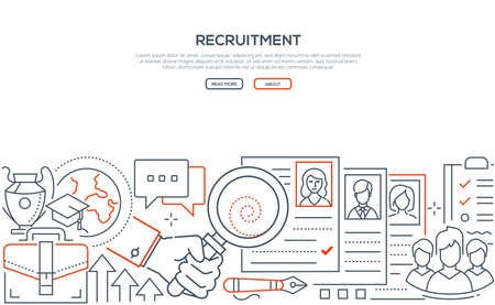 Recruitment - modern line design style web banner on white background with copy space for text. An image of a hand holding a magnifying glass, looking at CVs of applicants, searching best candidate