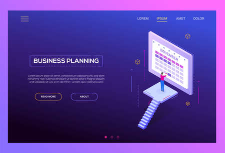 Business planning - modern isometric vector web banner on purple background with copy space for text. High quality header with businessman standing in front of online calendar, picking the date, time Ilustração