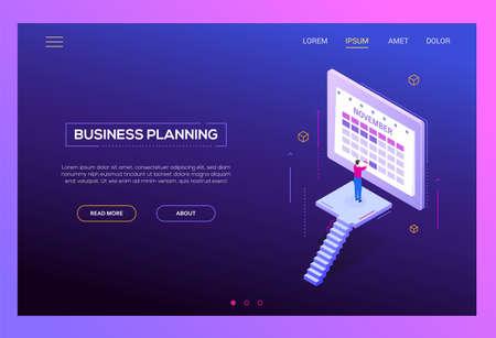 Planificación de negocios - banner web moderno vector isométrico sobre fondo morado con espacio de copia de texto. Encabezado de alta calidad con el empresario de pie frente al calendario en línea, eligiendo la fecha y la hora