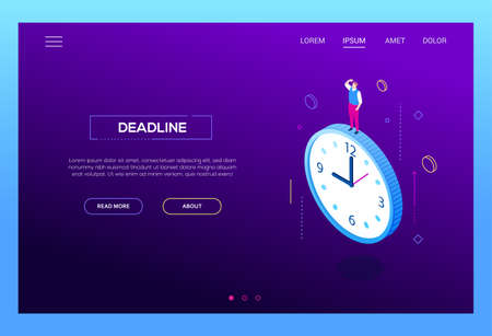 Deadline concept - modern isometric vector web banner on purple background with copy space for text. High quality composition with businessman, male manager standing on big clock. Time management