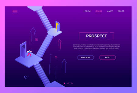 Business prospect - modern isometric vector website header on white background with copy space for your text. Landing page template with businessman standing on the staircase, thinking where to go Çizim