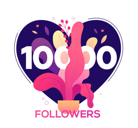 10 000 followers banner - modern flat design style illustration with a floral composition and number ten thousands in a heart shape. Flower pot, leaves images. Perfect way to thank your subscribers 일러스트