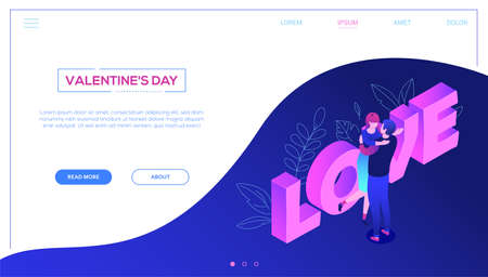 St Valentines day - colorful isometric vector web banner