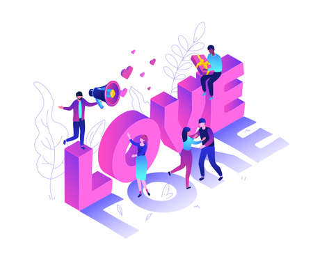 Valentines Day - modern colorful isometric vector illustration on white background. High quality composition with male, female characters congratulating each other on 14th February, big love sign Illustration