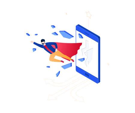 Business hero - modern colorful isometric vector illustration
