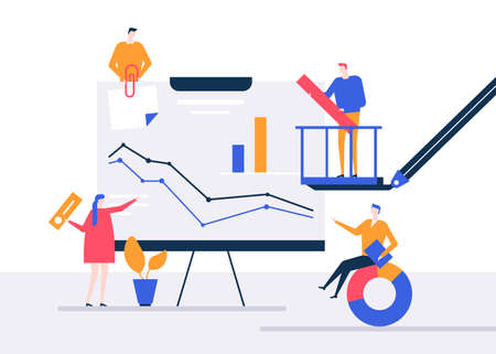 Data analysis - flat design style colorful illustration on white background. High quality composition with male, female colleagues, team standing at flip chart with diagram. Business analytics concept Foto de archivo - 126024417