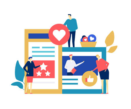 Testimonials on social media - flat design style colorful illustration on white background. Composition with male, female specialists, creative business team collecting like, thumb up buttons, ratings