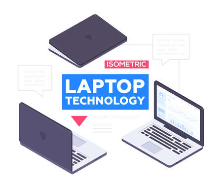 Laptop technology - modern vector colorful isometric illustration