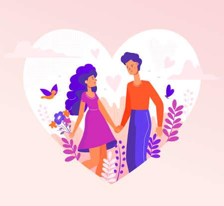 Romantisches Paar - moderne flache Designartillustration in einer Herzform auf rosa Hintergrund. Eine Komposition mit männlichen, weiblichen Charakteren, Jungen und Mädchen bei einem Date, Händchen haltend, Bildern von Vögeln, Blumen