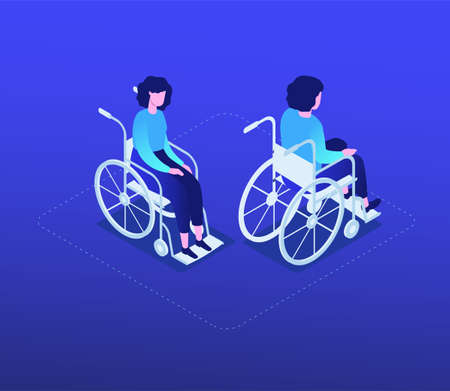 Woman in a wheelchair - modern isometric character set