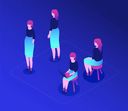 Female worker - modern vector isometric character set isolated on blue background. Collection with a cute woman wearing skirt in different positions, sitting on a stool, standing, working with laptop