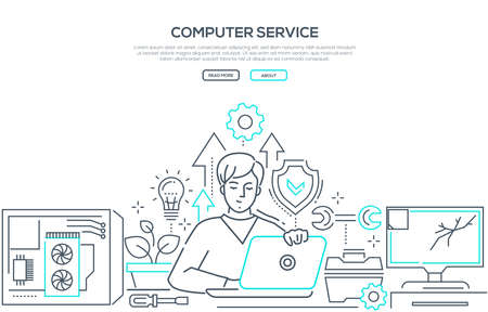 Computer service - modern line design style banner on white background with copy space for text. A composition with a male specialist working at laptop, system unit, broken computer screen, tools