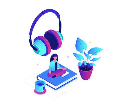 Écouter de la musique - illustration vectorielle isométrique colorée moderne sur fond blanc. Une composition avec une femme assise en position du lotus sur un livre, des écouteurs, une plante, une tasse de thé. Notion de loisirs