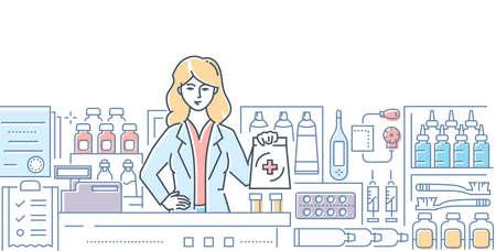 Farmacia - Ilustración de estilo de diseño de línea colorida moderna sobre fondo blanco. Una composición con una trabajadora, farmacéutica en el mostrador, imágenes de pastillas, medicamentos, gotas. Concepto de salud Ilustración de vector