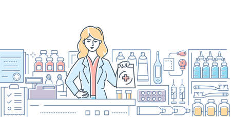 Pharmacy - modern colorful line design style illustration on white background. A composition with a female worker, pharmacist at the counter, images of pills, medicine, drops. Healthcare concept Vectores